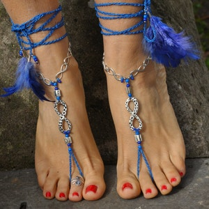 foot jewelry WHITE BAREFOOT SANDALS Silver Infinite outdoor wedding jewelry hippie chic sandals yoga accessories toe ring