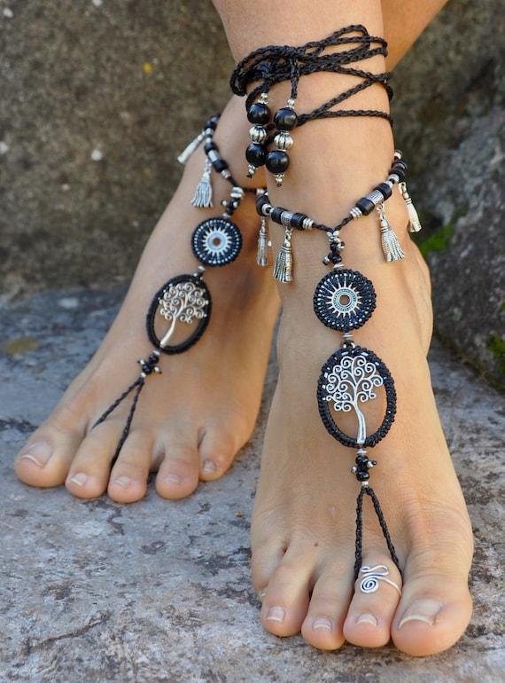 Negro ÁRBOL de la VIDA descalzo SANDALIAS joyería de los  c7fdaf245aa7