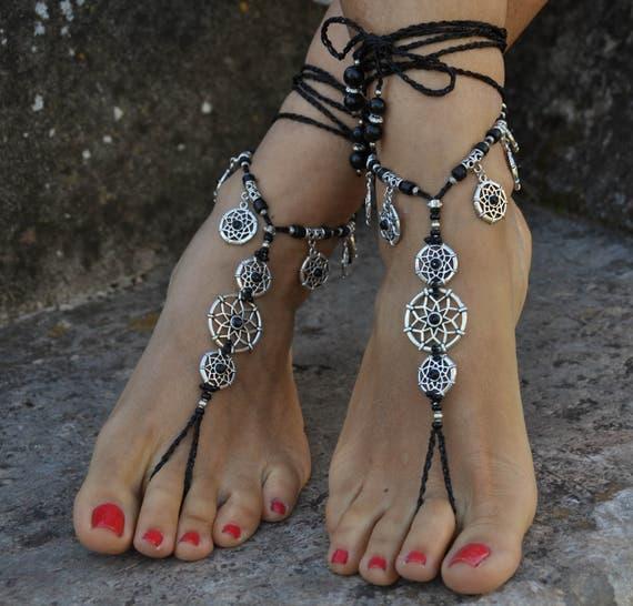 NEGRO estrella descalzo sandalias joyería de los pies Hippie  1552aa6a506c