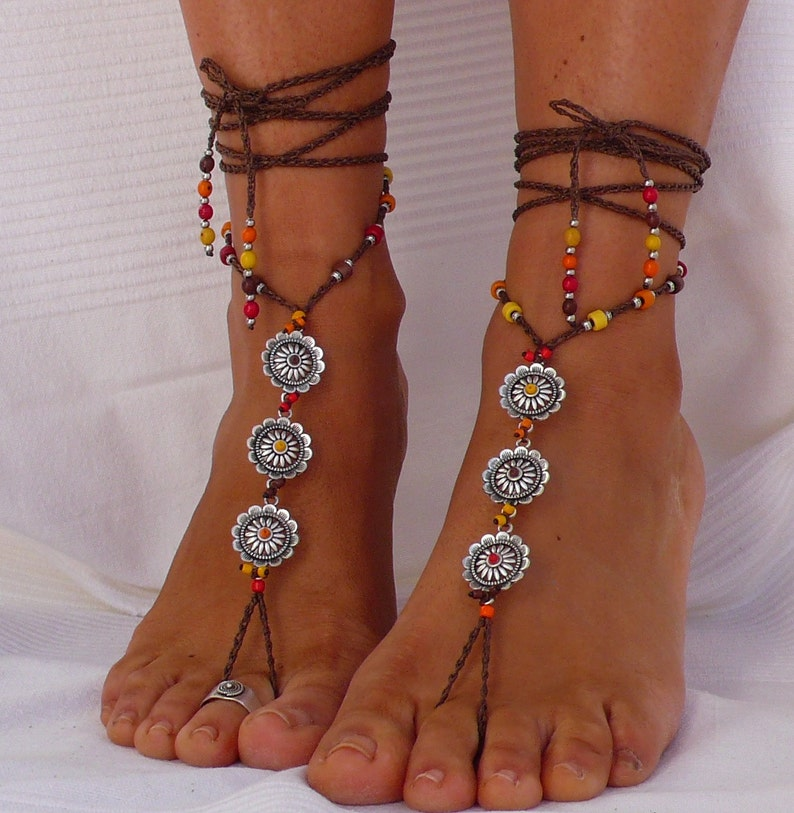 b4f8361e8632 Silver FLOWER BAREFOOT SANDALS brown foot jewelry hippie