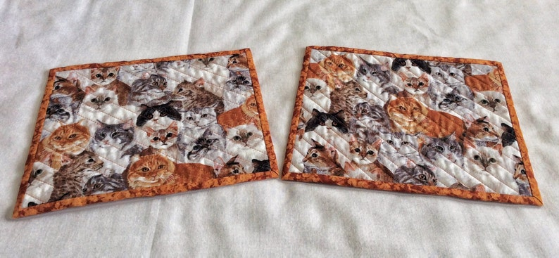 cats cats cats Xmas exchange gift set of 2 on a field of white gray and rust Cats galore cat snack mats mini cat placemats