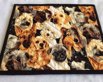 Dogs and More Dogs, Snack Mats, Beverage Mats, Quilted Table Mats, Handmade Table Linen, Christmas Gift, Exchange Gift