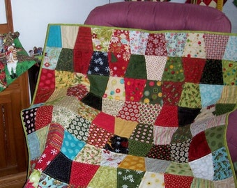 A Blaze of Holiday Color in a Tumbler Wall Hanging or Lap Quilt