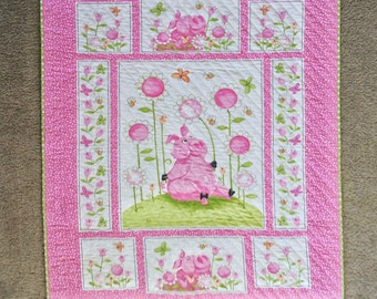 Quilted Pink Piglets, Wall Hanging, Lap Quilt, Easter, Spring, Pinks, Lime Green, Polka Dots, Easter Piglets