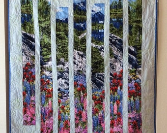 Quilted Texas Floral Fractured Wall Hanging, Quilted Sofa Throw, Mountain Theme Wall Hanging, Texas Flowers Wall Hanging, Housewarming Gift
