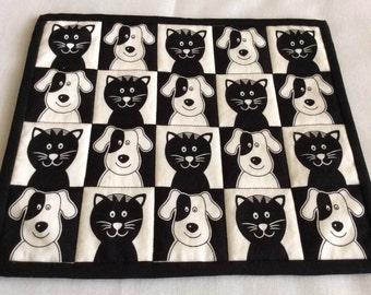 Black Cats & Dogs, Black and White Snack Mats, Animal Large Mug Rugs, Black White Beverage Mats, Novelty Table Mats
