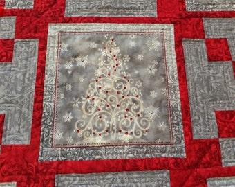 Christmas Wall Hanging-Christmas Lap Quilt-Holiday Lap Quilt-Swarvoski Crystals-Christmas Tree, Wreath, Present, Irish Chain