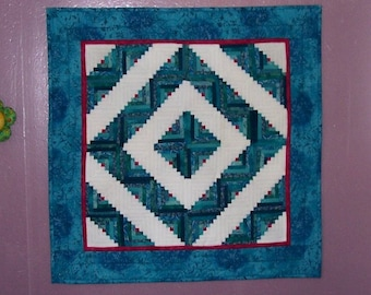 Barn Raising Log Cabin Wall Hanging, Quilted Table Centerpiece, Turquoise, White and Red.