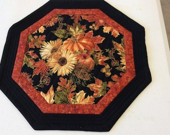 Quilted Octagon Autumn Table Centerpiece, Autumn Coffee Table Centerpiece, Hostess Gift, Reversible Octagon Table Decor,