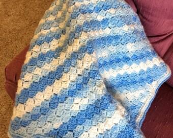 Crochet Small Blanket, Handmade Baby Blanket, Shades of blue white, Carraige Blanket, Tummy Time Blanket, Baby Boy, New Born Blanket