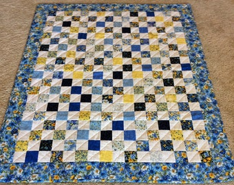 """Floral Quilt, Patchwork Quilt, Summer Quilt, Floral Lap Robe, 2"""" Squares in Shades of Blue, Yellow and White,  Quilted Throw, Quilted Gift"""