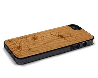 iPhone 5 Case Wood Flowers, Wood iPhone SE Case, iPhone 5S Case Wood
