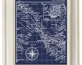 Digital Download, Navy Blue Vintage Ocean Map Coastal Art  Print