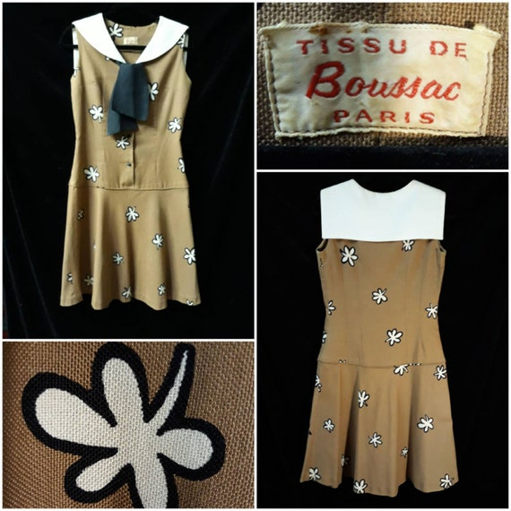 Vintage 1960's, Sailor Collar,Flower Print, Drop … - image 1