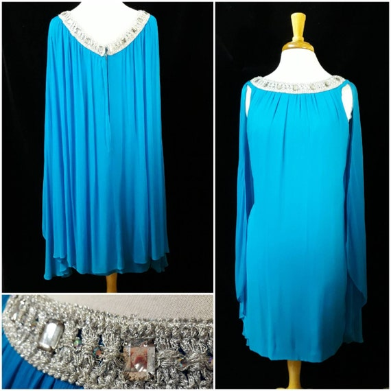 Vintage 1960's Chiffon dress with capelet