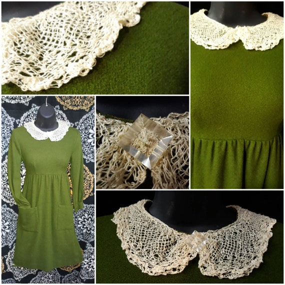 Vintage 1960's Olive Green Peter Pan Lace Collar M
