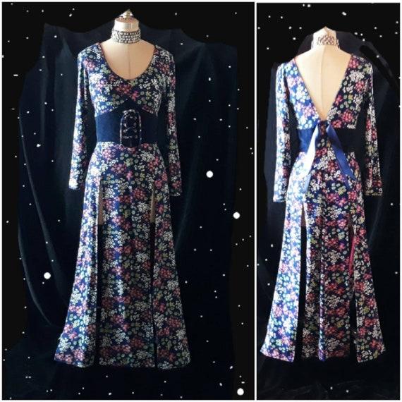 Vintage 1970's Split Skirt Floral Maxi Dress