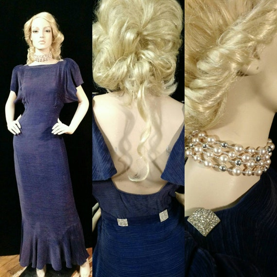 Exquisite 1930's Royal Blue Silk Velvet Gown