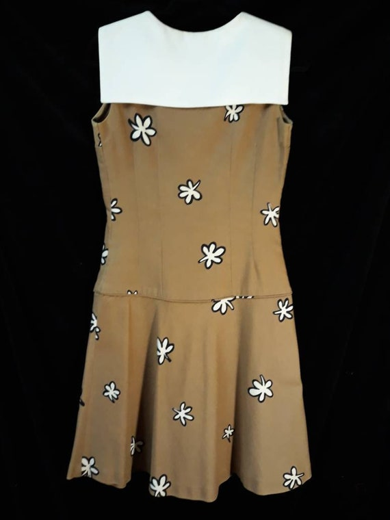 Vintage 1960's, Sailor Collar,Flower Print, Drop … - image 3