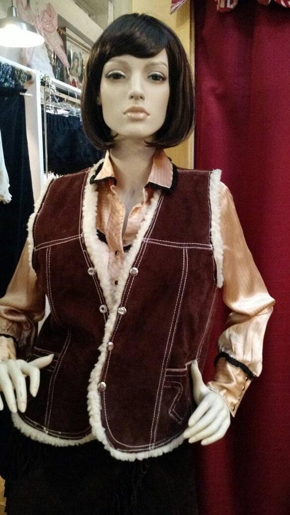 Vintage 1970's suede shearling lined vest