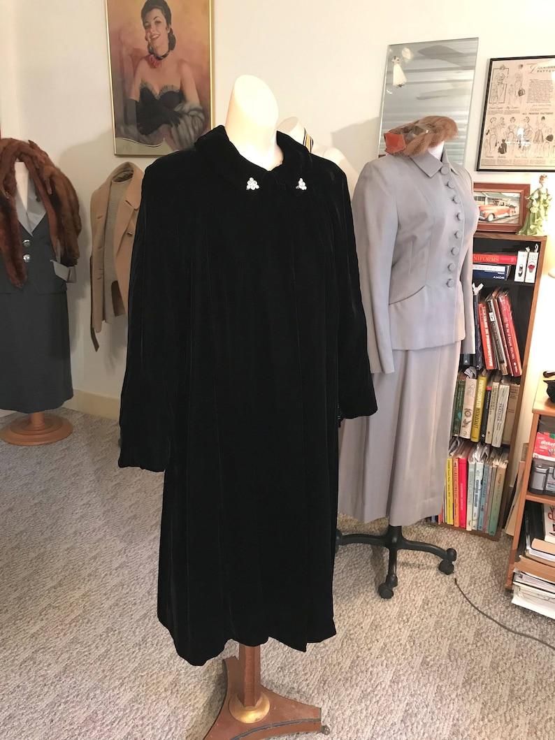 Vintage Detailed Goth 1940/'s Swing Style Black Opera Coat AMAZING