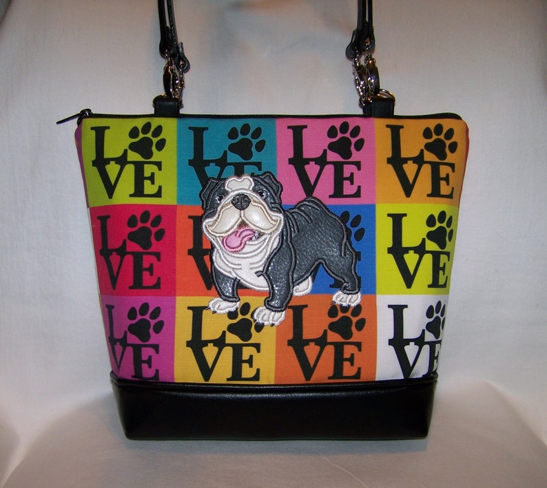 Bulldog Purse in LOVE Paws Fabric - Handbag - Bag - Made to Order