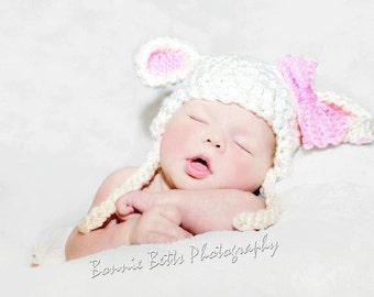 Crochet Little Lamb Hat - Newborn Photo Prop - Spring Photo Prop - Lamb Baby Shower Gift - Easter Hat - Easter Photo Prop - Baby Easter Hat