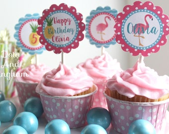 Flamingo Cupcake Topper, Flamingo Birthday Party, Pink Flamingo Cupcake Toppers, Pineapple Cupcake Topper, Lets Flamingle Luau Pool Party