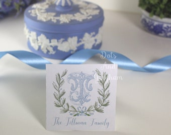 Monogram Gift Tags with Laurel Wreath / Monogram Enclosure Cards or Stickers