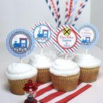 Printable Train Cupcake Topper, Train Birthday Party, Train Party, Choo Choo Train, Railroad, Vintage Train Cupcake Toppers, Train Track