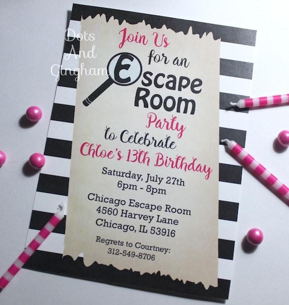 image about Printable Escape Room titled Escape Place Invitation, Escape Place Celebration, Scavenger Hunt
