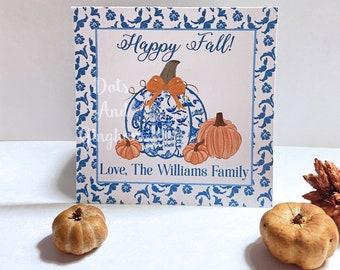 Chinoiserie Pumpkin Tags or Stickers / Ginger Jar Pumpkin / Chinoiserie Fall Tag / Grandmillenial Fall Pumpkin Tag Sticker / Blue & White