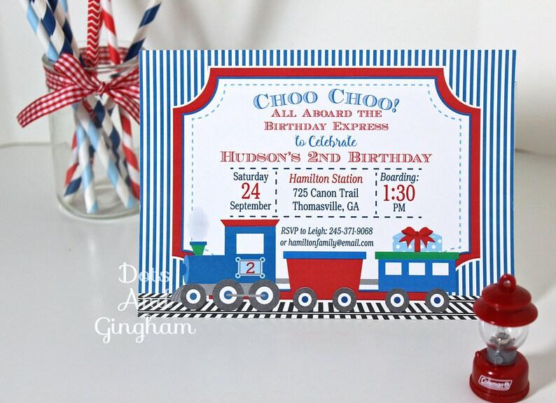 Train Birthday Invitation Printable Invite All Aboard