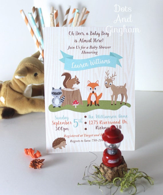 photo about Printable Squirrel Target called Woodland Kid Shower Invitation, Woodland Invitation