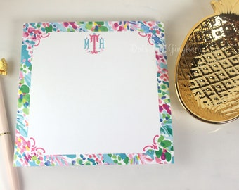 Personalized Watercolor Floral Notepad / Preppy Monogram Note Pad / Monogram Lilly Inspired Note Pad / Womens Stationery
