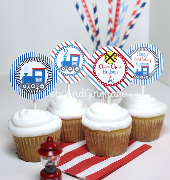 Printable Train Cupcake Topper Birthday Party