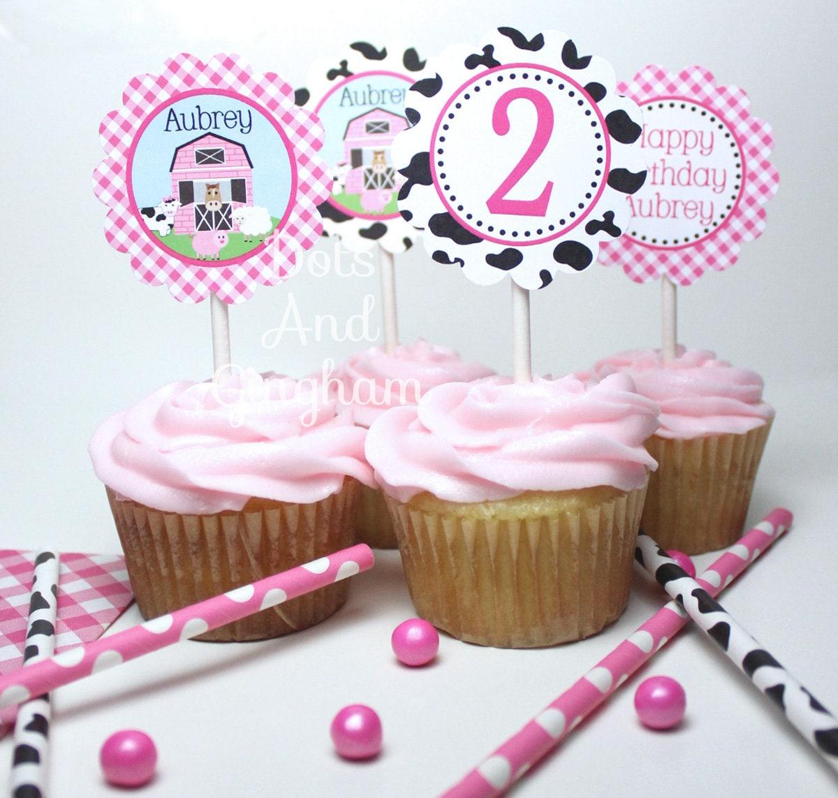 Printable Pink Farm Cupcake Topper Pink Barn Cupcake ...