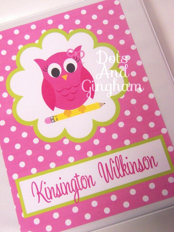 printable binder insert cover pink owl back to school binder insert