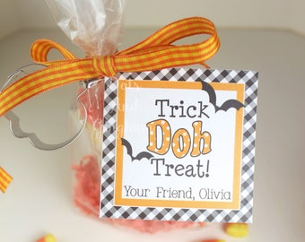 Kids Halloween Tags or Stickers / Play Doh Tags Stickers / Trick or Treat Tags / Kids Halloween/School Halloween Tags / Non Candy Treat