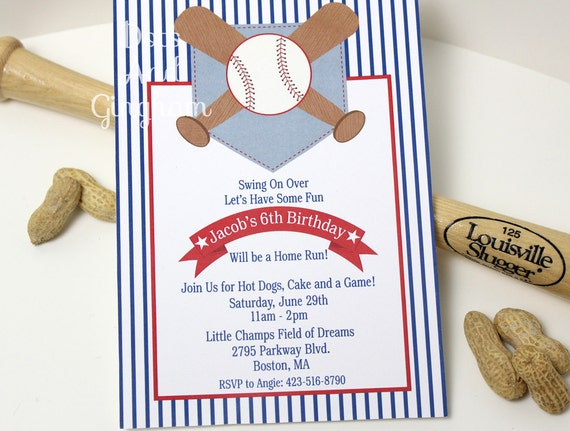 Baseball Birthday Invitation Invite Party Printable Vintage Lil Slugger