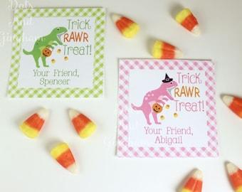 Kids Halloween Tags or Stickers / Dinosaur Tags Stickers / Trick or Treat Tags / Kids Halloween/School Halloween Tags