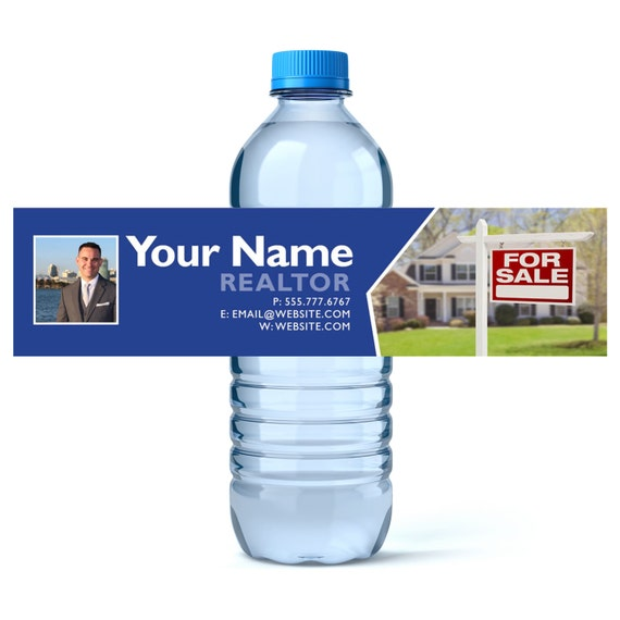 Custom Water Bottle Labels Real Estate Business Water