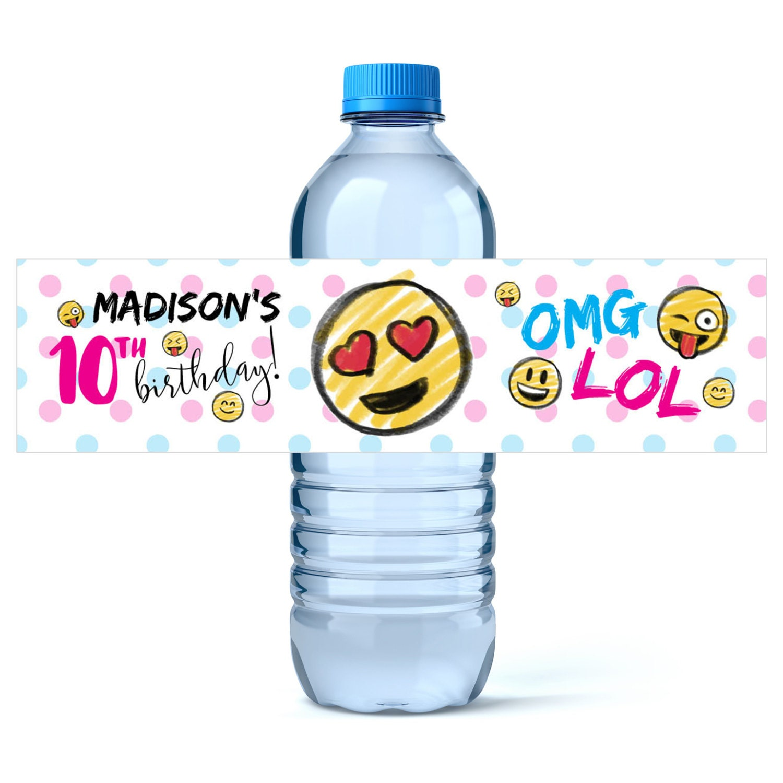 Emoji Party Birthday Water Bottle Label