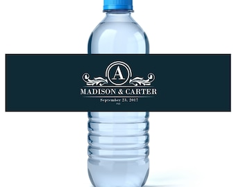 Monogram Water - Monogram Water Labels - Wedding Water Labels - Wedding Favors - Custom Water Bottle Labels Wedding