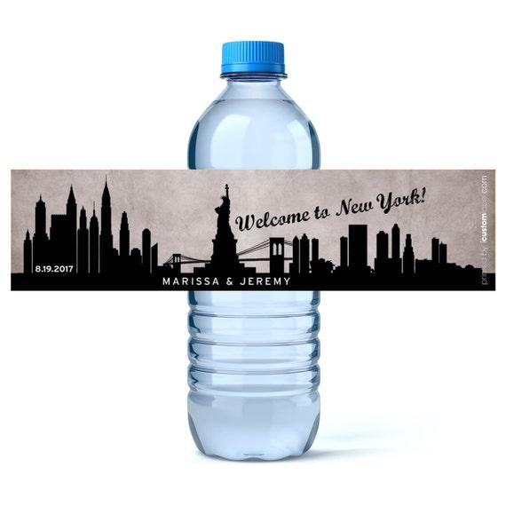 New York City Wedding Wedding Water Bottles Wedding Water Labels