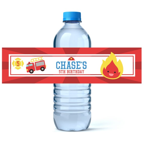 Firefighter Birthday Water Bottle Labels - Birthday Water