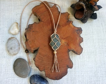 Stone Macrame Necklace with Tassel