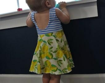fd04c2358cc0 Baby girl Lemon Botanical Stripe Dress 3-6 Month babies to 3t Toddler Girls