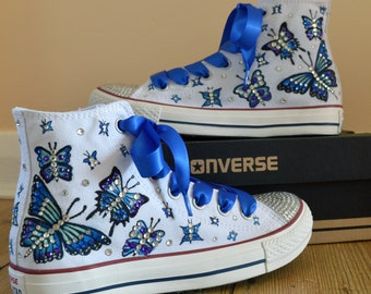 139eddd6db7f Original Custom Hand Painted Butterflies Converse Shoes with Rhinestones  and Satin Shoelaces