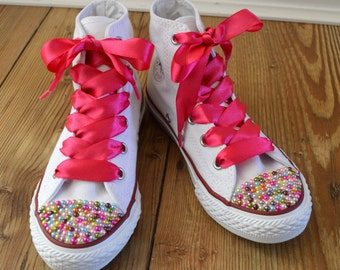aa45b8e0b342f Children Custom Converse shoes with Colourful Pearls and satin   Etsy